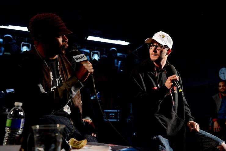Rapper Chris Webby talks with SiriusXM Host Sway Calloway as he broadcasts 'Sway In The Morning' on Shade 45 on April 20, 2017 Denver, Colorado.