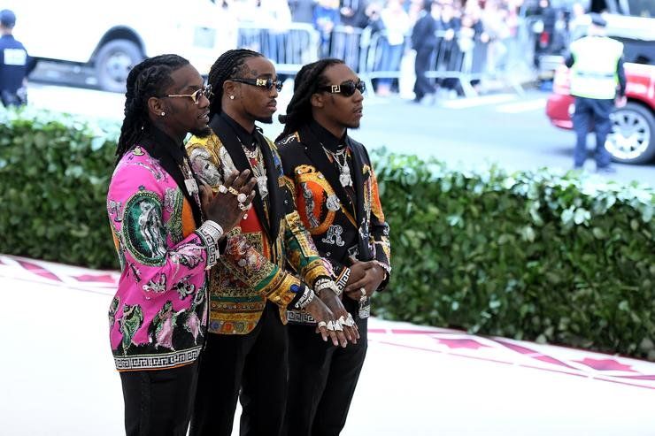 Offset, Quavo, and Takeoff of Migos attend the Heavenly Bodies: Fashion & The Catholic Imagination Costume Institute Gala at The Metropolitan Museum of Art on May 7, 2018 in New York City