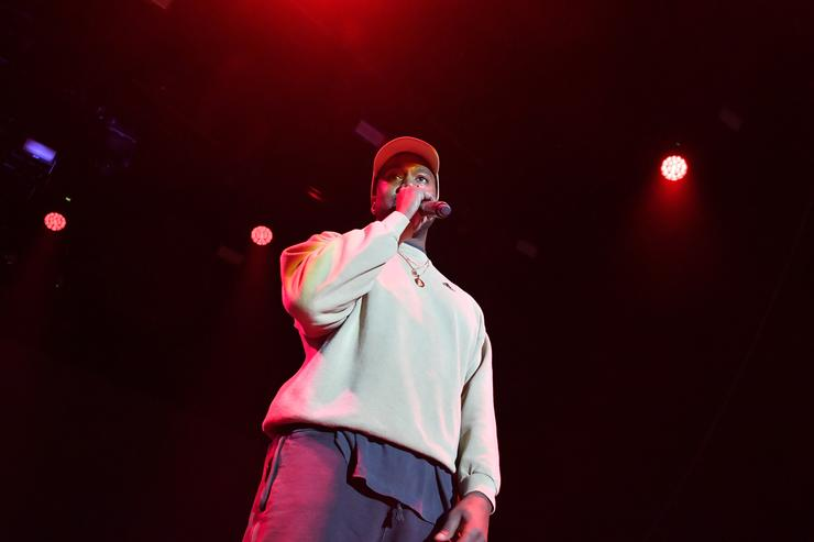 Kanye West onstage at adidas Creates 747 Warehouse St. - an event in basketball culture on February 17, 2018 in Los Angeles, California