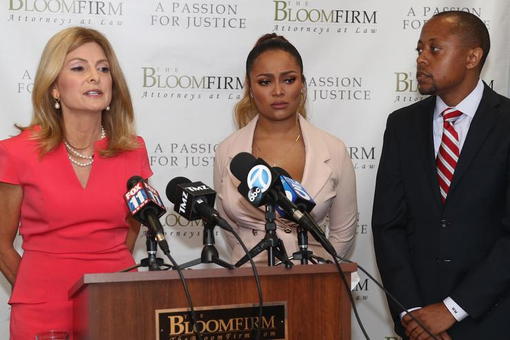 Lisa Bloom speaking and Walter Mosely hold a press conference with their client Teairra Mari about new legal action against rapper 50 Cent and Akbar Abdul Ahad at The Bloom Firm