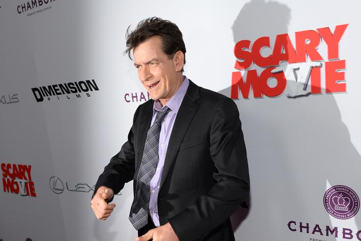 Actor Charlie Sheen arrives for the premiere of Dimension Films' 'Scary Movie 5' at ArcLight Cinemas Cinerama Dome on April 11, 2013 in Hollywood, California.