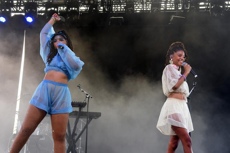 Chloe Bailey (L) and Halle Bailey of Chloe x Halle perform onstage during the 2018 Coachella Valley Music And Arts Festival at the Empire Polo Field on April 21, 2018 in Indio, California.