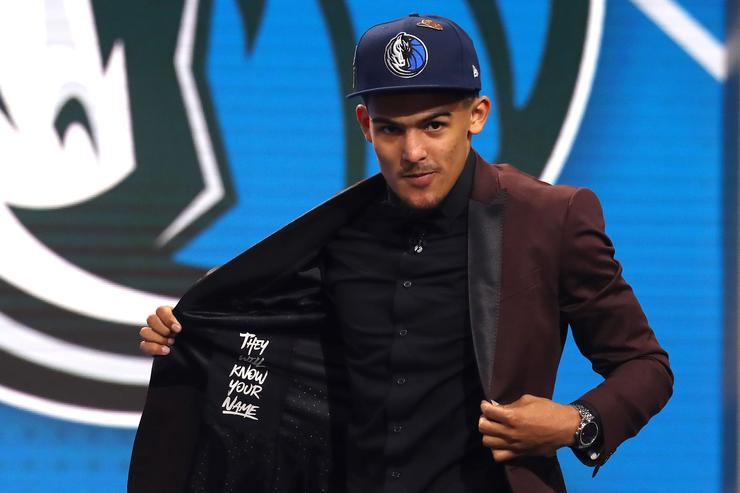 Trae Young reacts after being drafted fifth overall by the Dallas Mavericks during the 2018 NBA Draft at the Barclays Center on June 21, 2018 in the Brooklyn borough of New York City