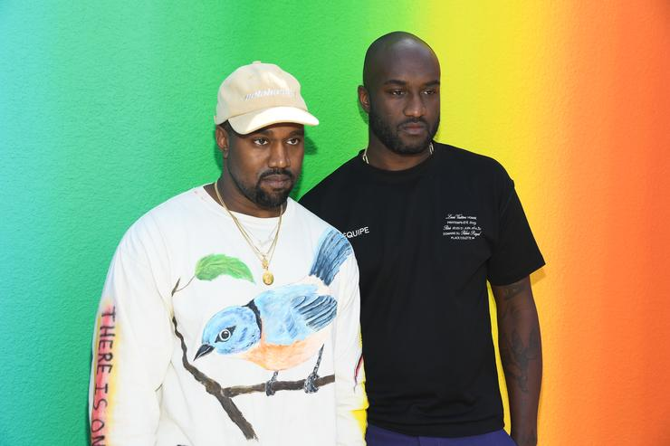 Kanye West and Virgil Abloh after the Louis Vuitton Menswear Spring/Summer 2019 show as part of Paris Fashion Week on June 21, 2018 in Paris, France.