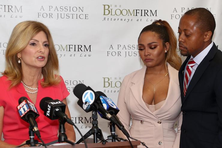 Attorneys Lisa Bloom, speaking, and Walter Mosely hold a press conference with their client Teairra Mari (C) about new legal action against rapper 50 Cent and Akbar Abdul-Ahad at The Bloom Firm on May 17, 2018 in Woodland Hills, California