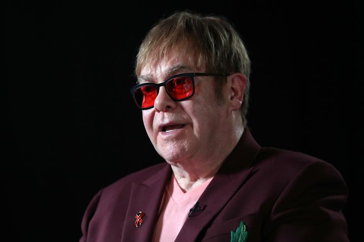Sir Elton John speaks during a lecture on 'The Diana, Princess of Wales Lecture on HIV' at French Institute South Kensington on June 8, 2018 in London, England