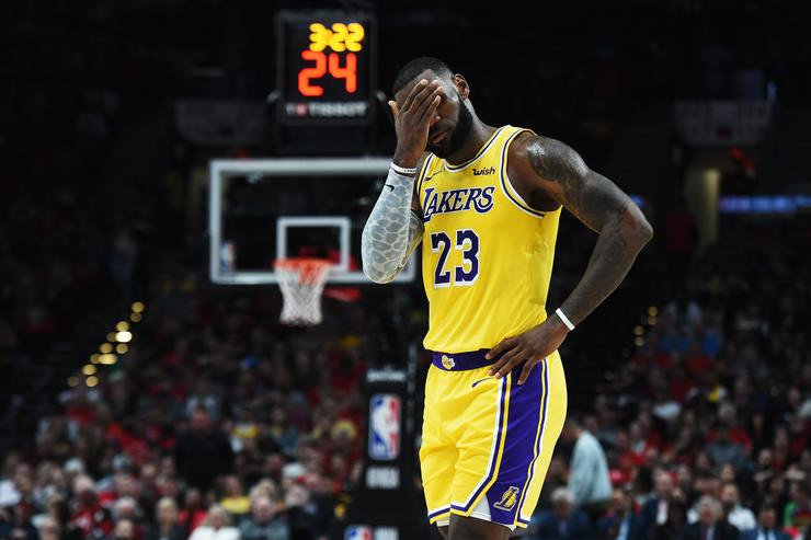 LeBron James #23 of the Los Angeles Lakers reacts in the first quarter against the Portland Trail Blazers during their game at Moda Center on October 18, 2018 in Portland, Oregon