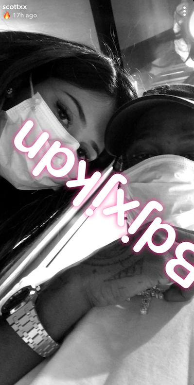 Travis Scott & Kylie Jenner Promote Gibberish In First Selfie Post Stormi Birth