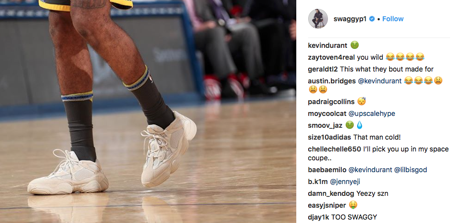 "Kevin Durant Mocks Nick Young's Decision To Rock ""Blush"" Yeezy 500s"