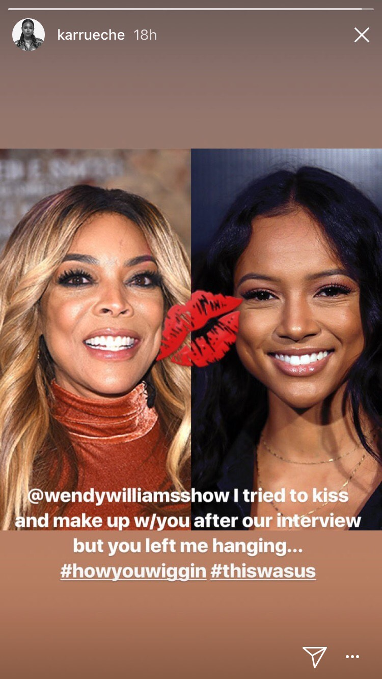 "Karrueche Calls Out Wendy Williams: ""I Tried To Kiss & Make Up With You"""