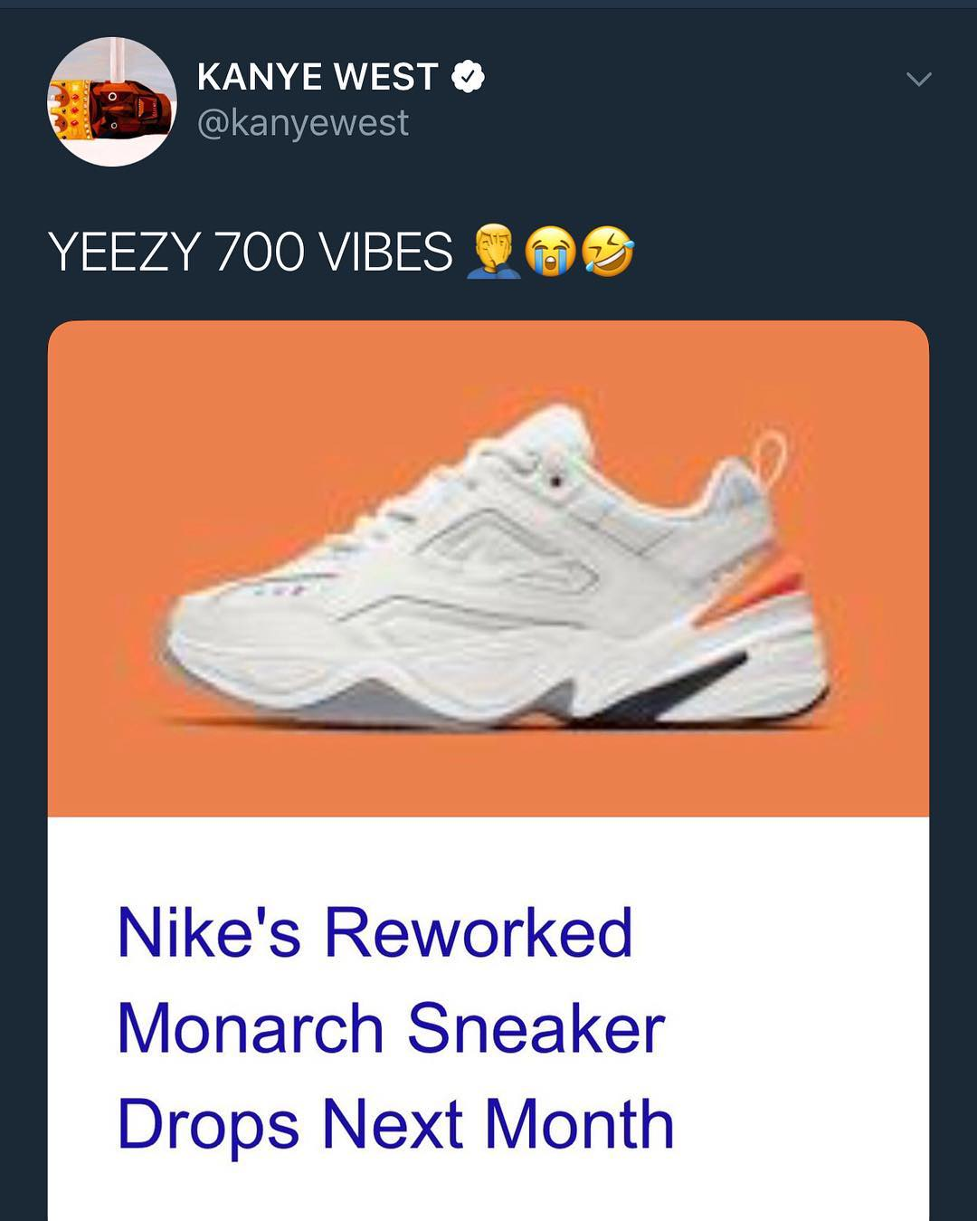 sports shoes 8c88c 3c1d5 Check out Kanye s twitter page here and peep the since-deleted photo of him  taking a shot at Nike (below).
