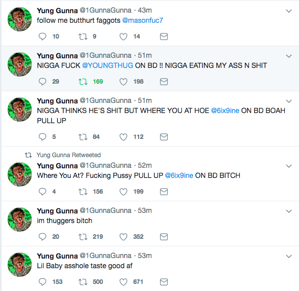 Gunna's Twitter Hacked, His DMs Exposed, Lil Baby & Young Thug Get Dragged
