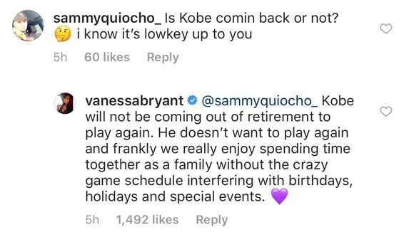Kobe Bryant's Wife Shuts Down Comeback Rumors