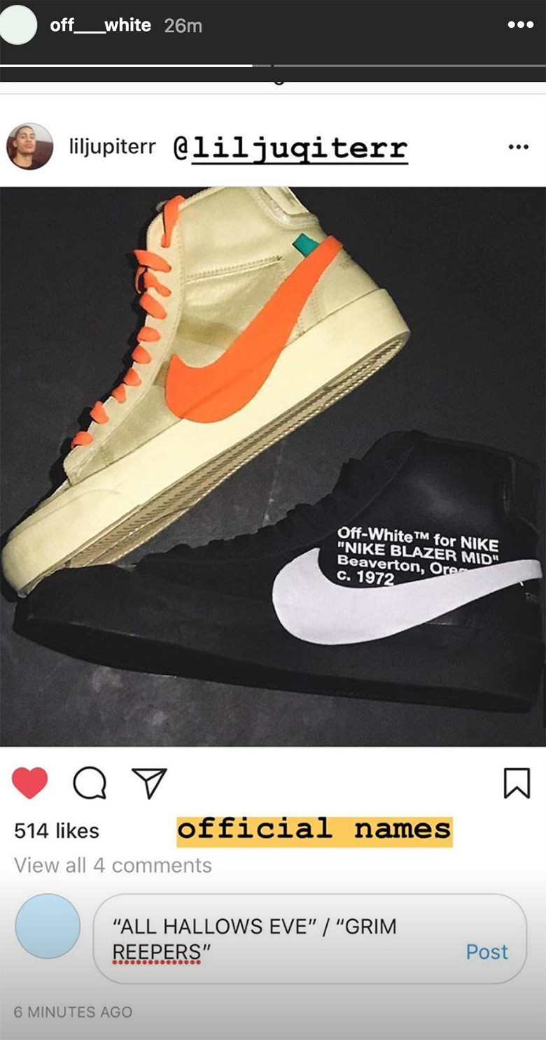 88e2b2767d4 Virgil Abloh Confirms Halloween-Themed Off-White x Nike Blazers ...
