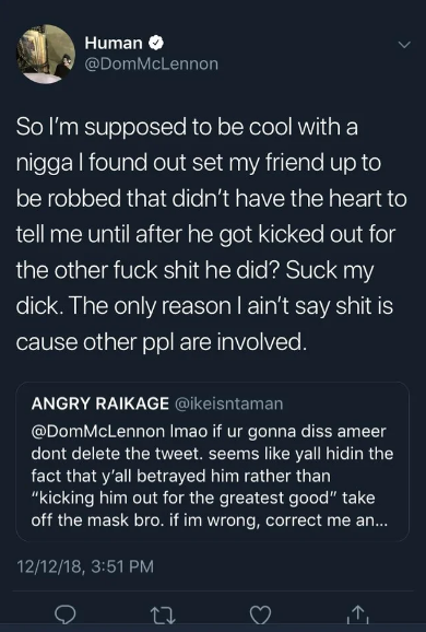 Dom McLennon Accuses Ameer Vann Of Setting His Friend Up To Be Robbed