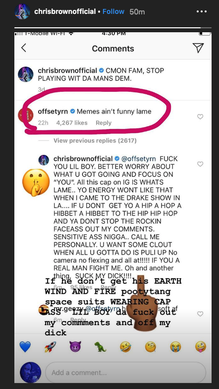 Chris Brown Blasts Offset, Asks Him To Suck His D***… Offset Responds