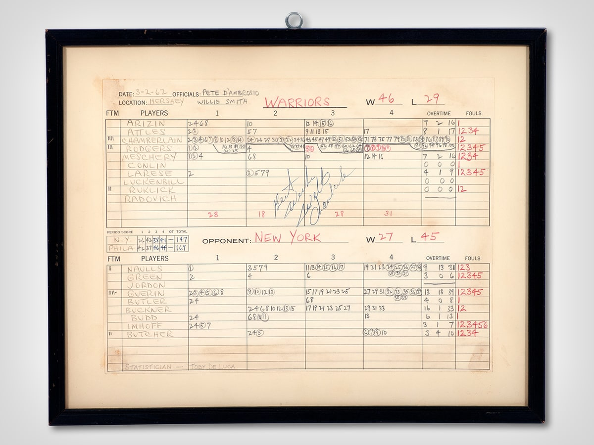 Wilt Chamberlain's 100-Point Box Score Expected To Sell For Astronomical Amount