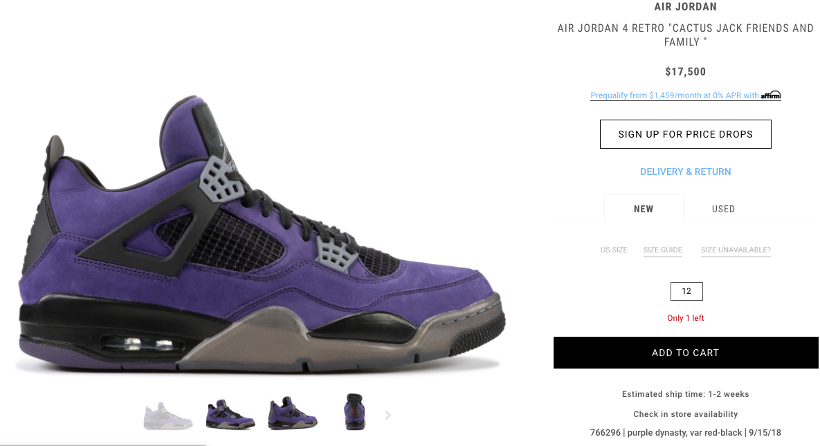 Rare Travis Scott x Air Jordan 4 Surfaces With Astronomical Price Tag