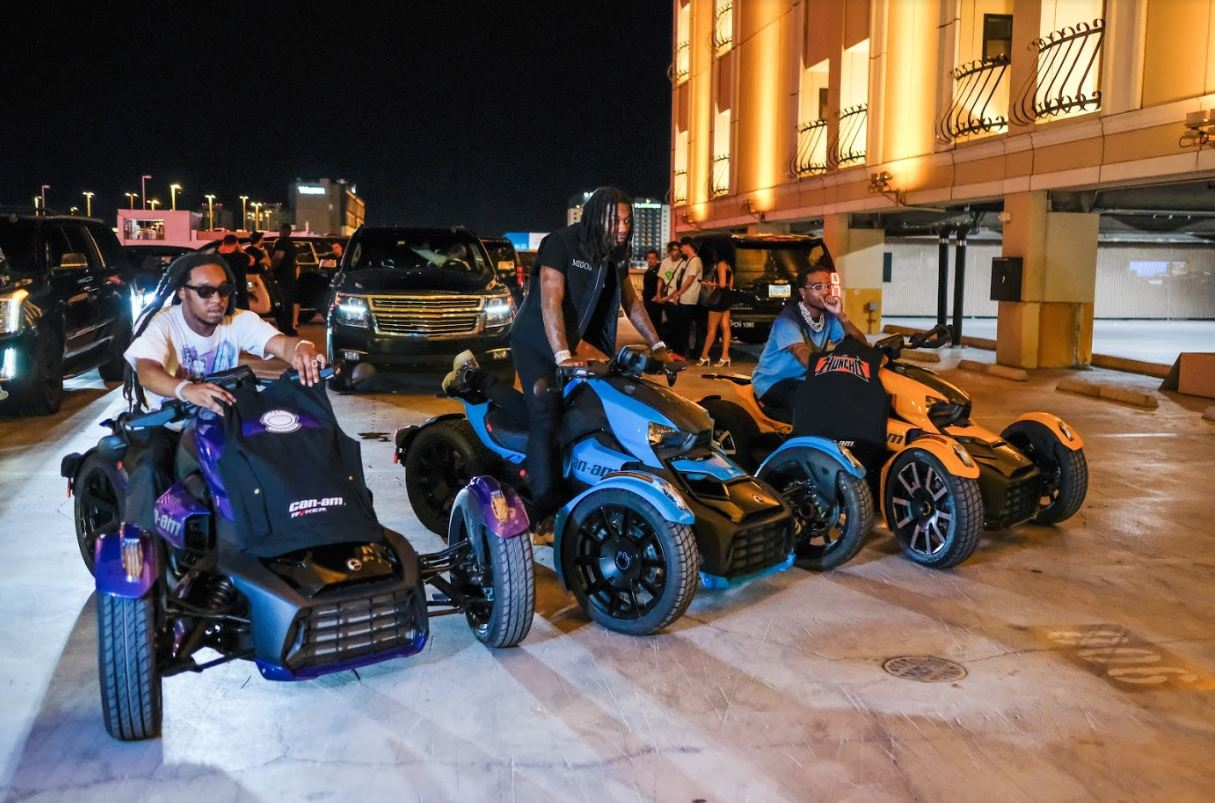 Migos Poses With Custom, Three-Wheel Rykers Motorcycles That