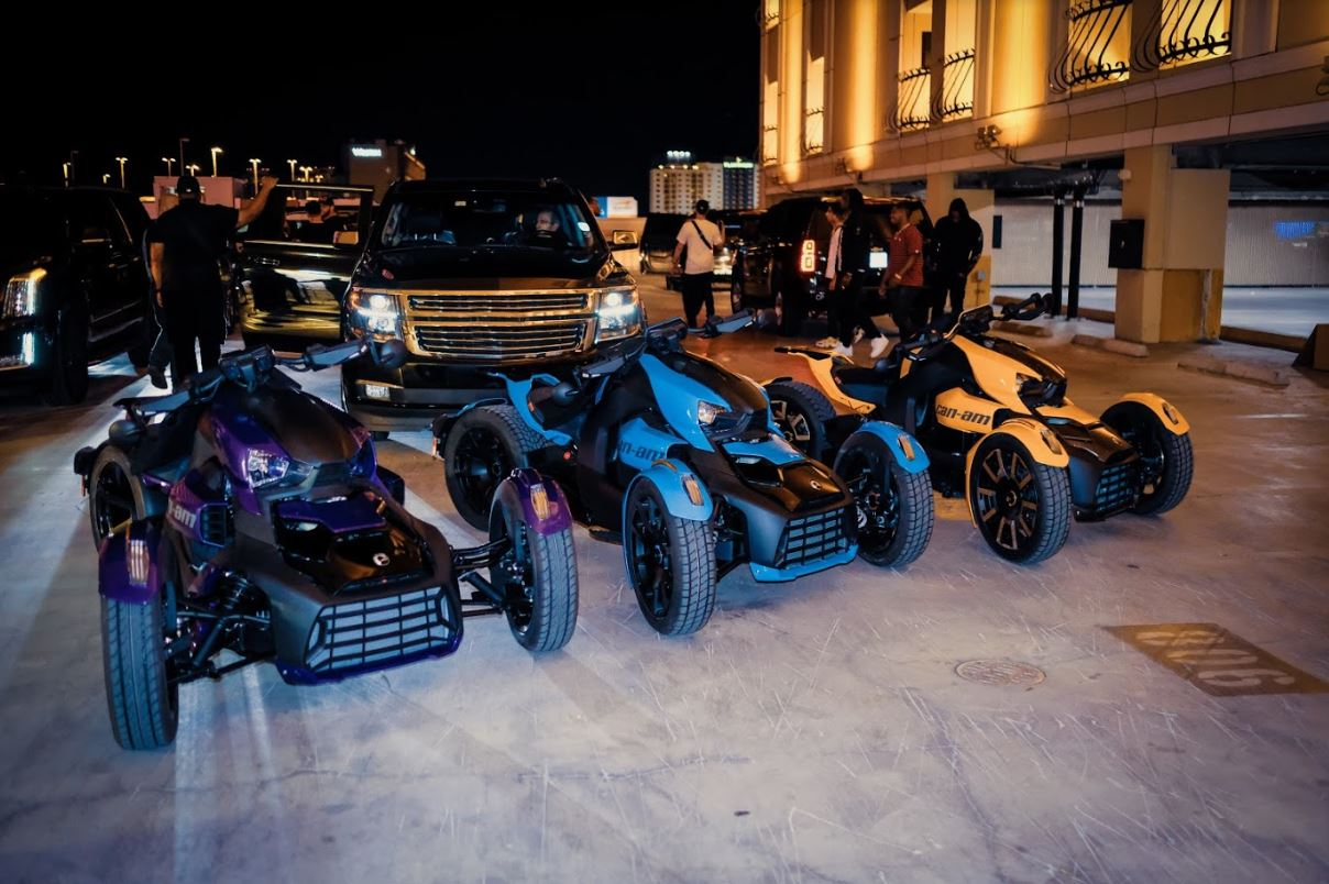 Migos Poses With Custom, Three-Wheel Rykers Motorcycles That They Helped Design