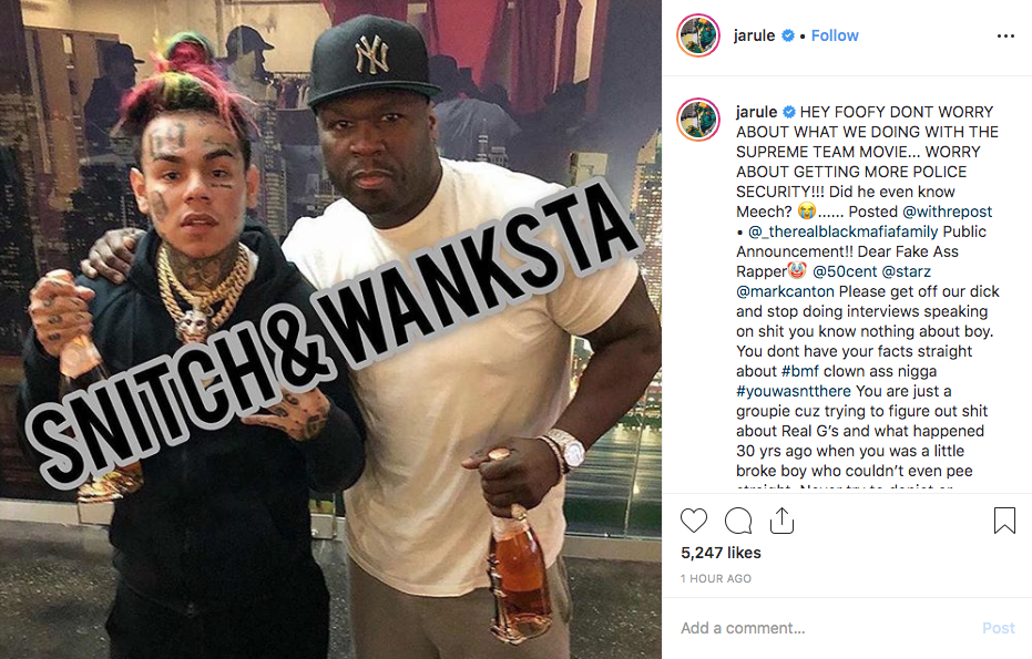 Ja Rule Bans 50 Cent From Detroit & Ridicules Him With 6ix9ine Photo