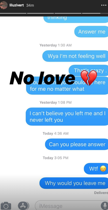 "Lil Uzi Vert Shares Text Messages With Ex-Girlfriend: ""Why Would You Leave Me"""