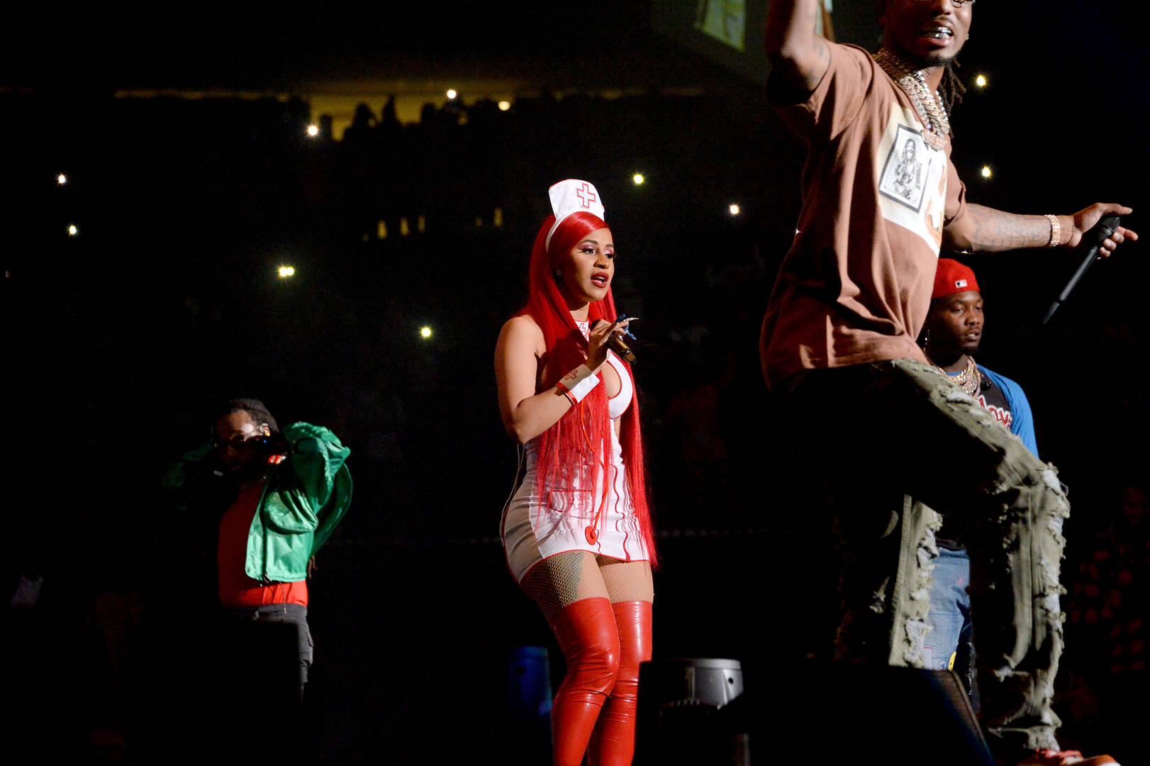 Cardi B Joins Offset On Stage & Performs In Sexy Nurse Halloween Costume