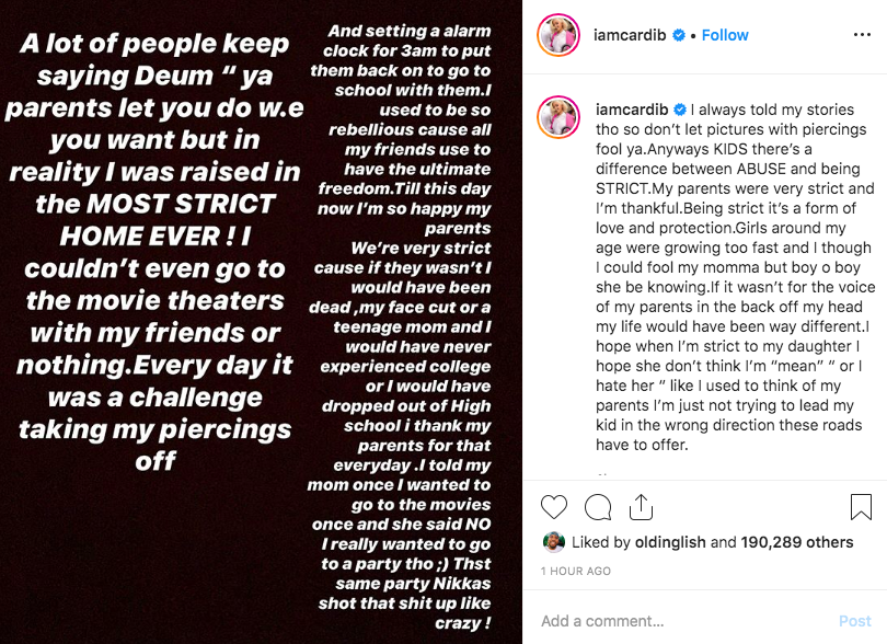 """Cardi B Makes It Clear That She Grew Up In A """"Strict Home"""" Despite Smoking At 15"""