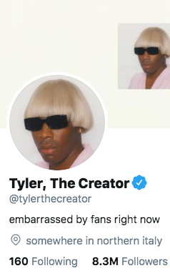"Tyler, The Creator Changes Twitter Bio To Reflect How ""Embarrassed"" He Is Of Fans"