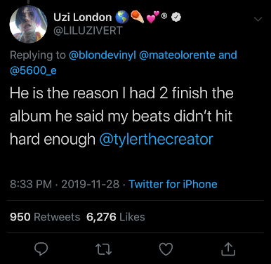 """Tyler, The Creator Is The Reason Why Lil Uzi Vert Finished """"Eternal Atake"""""""