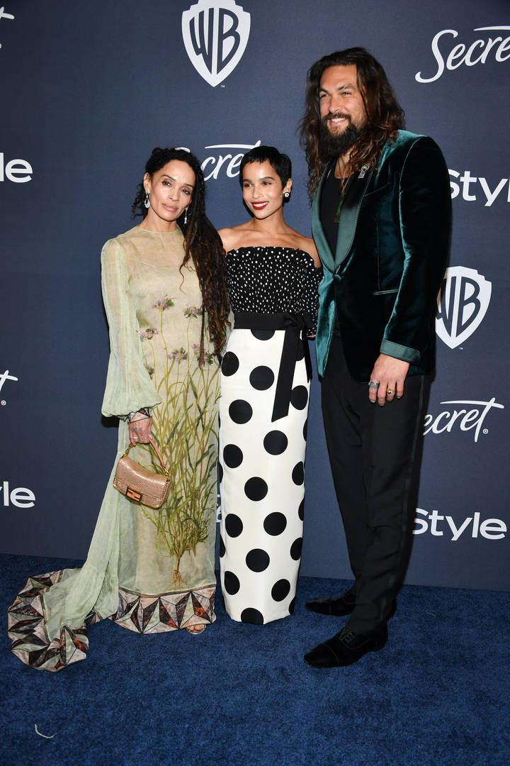Lisa Bonet, Zoë Kravitz, and Jason Momoa attend the 21st Annual Warner Bros. And InStyle Golden Globe After Party