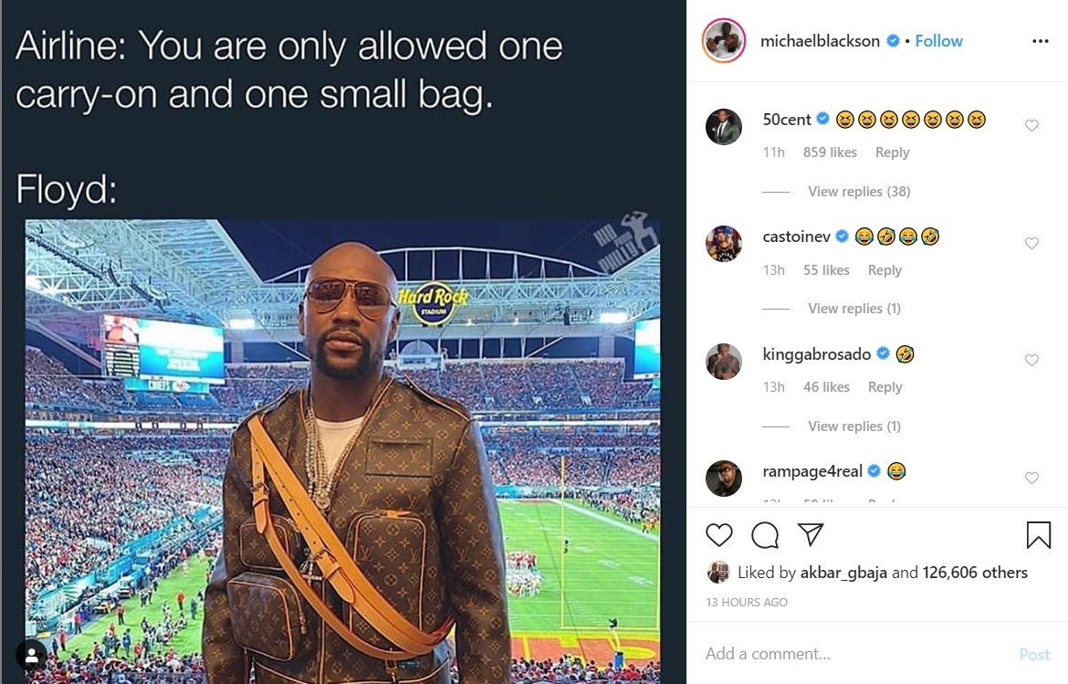 50 Cent & Michael Blackson Get A Laugh Out Of Floyd Mayweather's Superbowl Outfit