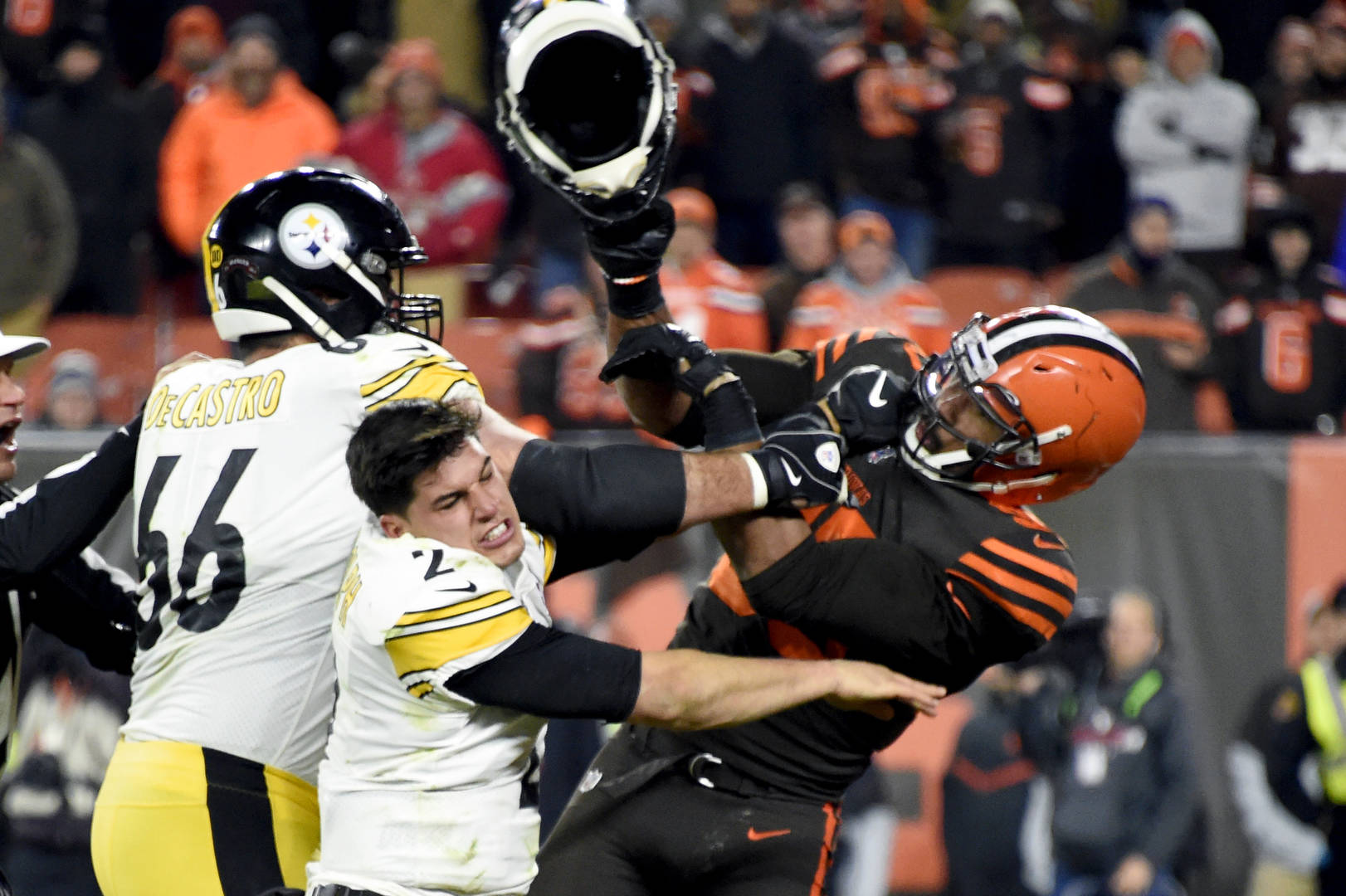 Mason Rudolph Myles Garrett helmet-swinging incident legal action liability racial slur Pittsburgh Steelers Cleveland Browns Browns Steelers Pittsburgh Cleveland