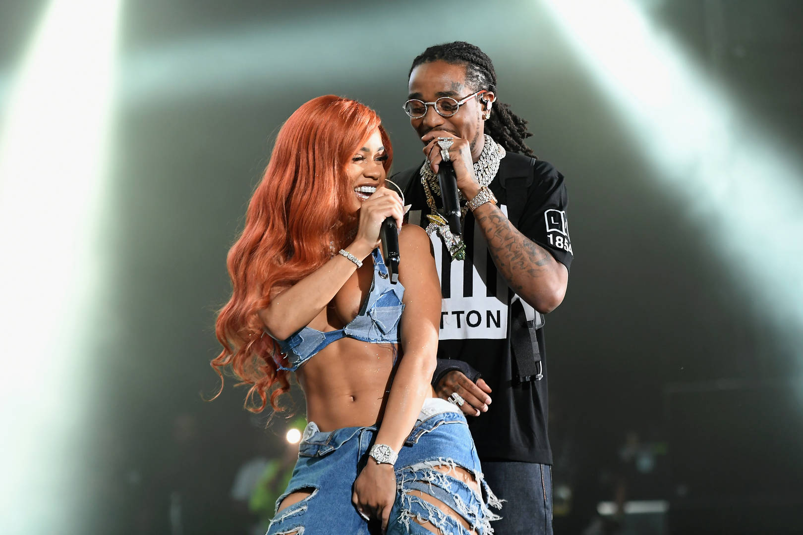 Saweetie Quavo straddle lap dance birthday post message couple cute adorable sweet baby Quavo T-shirt Migos