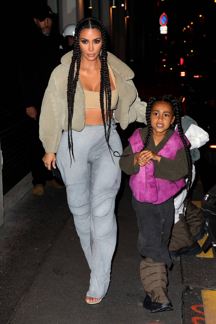 Kim Kardashian North West braids hairstyle cultural appropriation twins matching mother daughter throwback