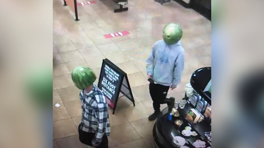 Two Men Wore Hollowed Out Watermelons On Their Heads To Shoplift