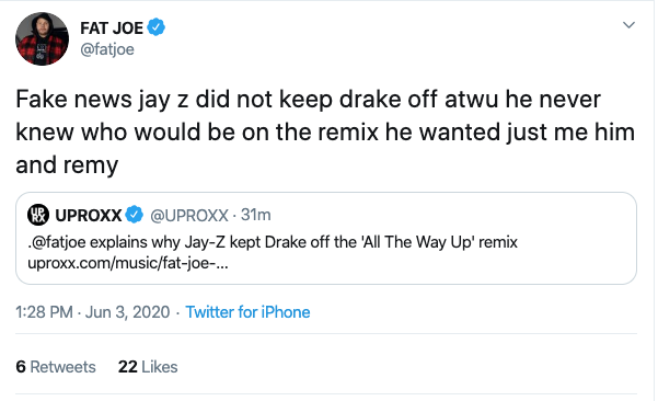 "Fat Joe Clarifies ""All The Way Up"" Remix: ""Jay-Z Did Not Keep Drake Off"""