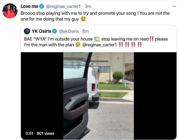 reginae carter yk osiris promote song leave me on read shoot shot twitter