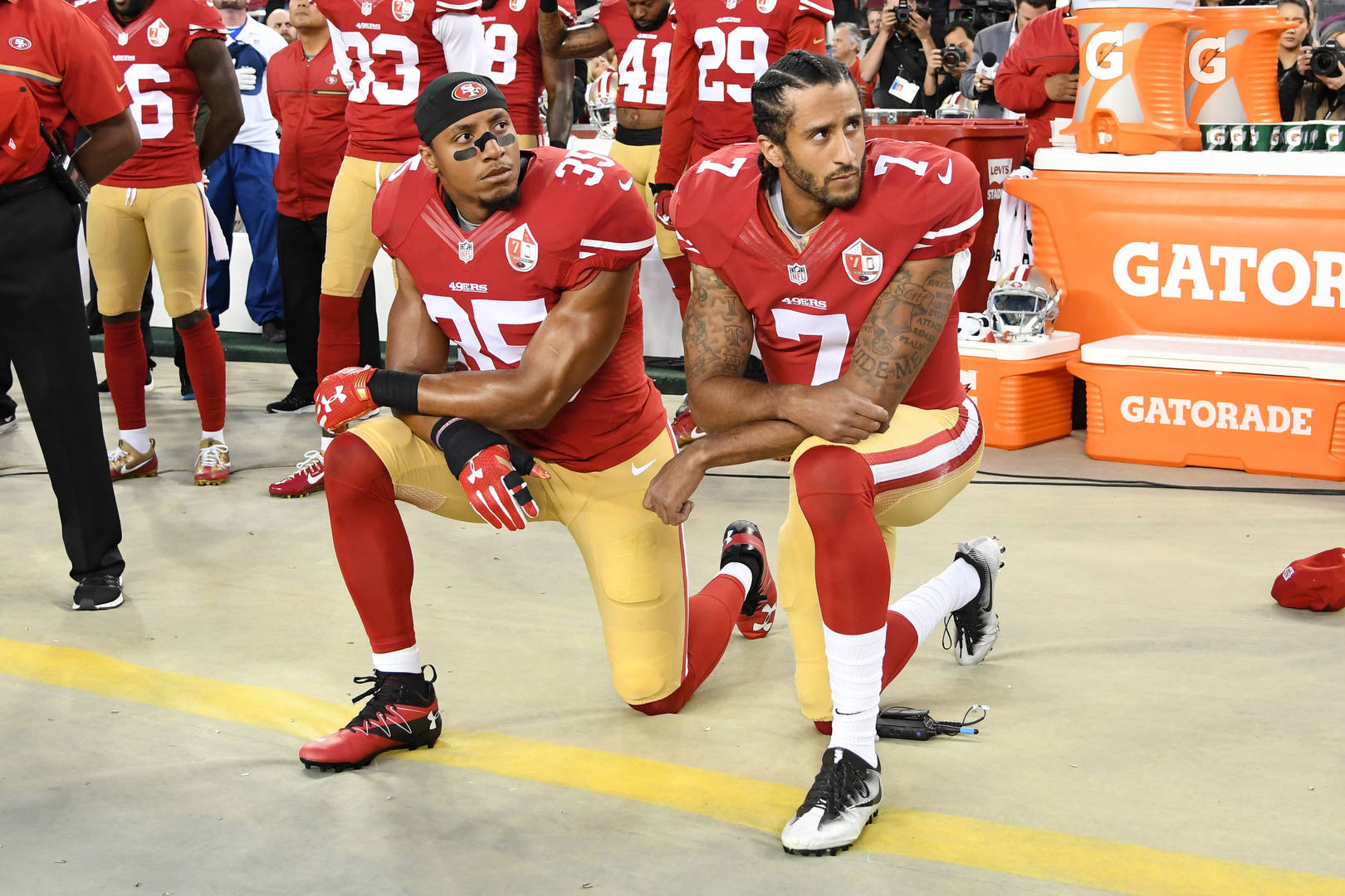 Colin Kaepernick chides NFL race 'propaganda,' says league is blackballing Eric Reid