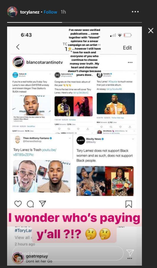 Tory Lanez, IG Story, Complex, Smear Campaign