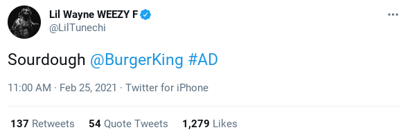 Screenshot of Lil Wayne's Burger King Tweet