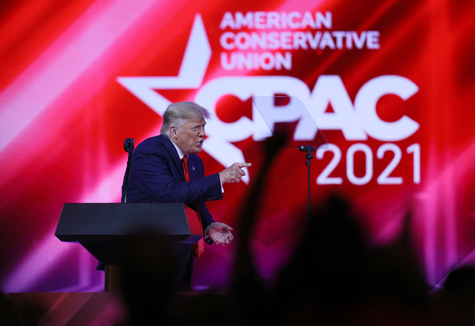 Former U.S. President Donald Trump addresses the Conservative Political Action Conference (CPAC) held in the Hyatt Regency on February 28, 2021 in Orlando, Florida