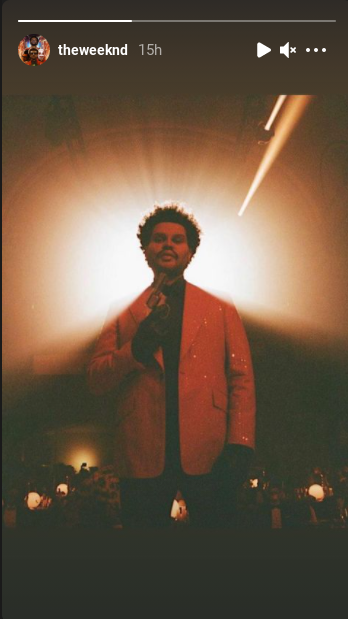 Screenshot of the Weeknd's Instagram story on March 25, 2021