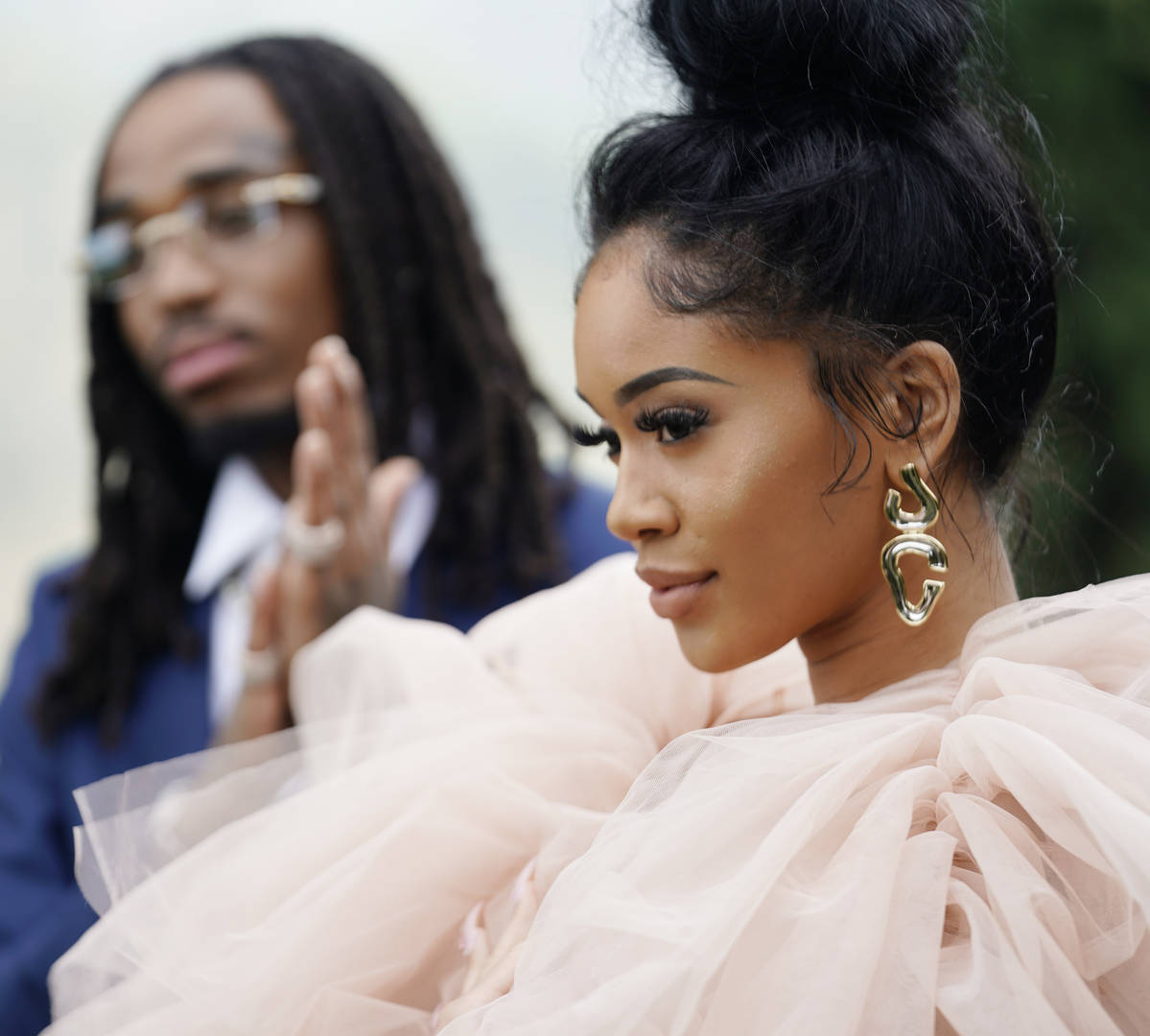 Quavo and Saweetie attend 2020 Roc Nation THE BRUNCH on January 25, 2020 in Los Angeles, California.