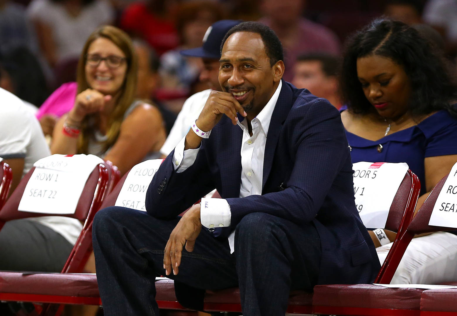 TV personality Stephen A. Smith looks on during week four of the BIG3 three on three basketball league at Wells Fargo Center on July 16, 2017 in Philadelphia, Pennsylvania.