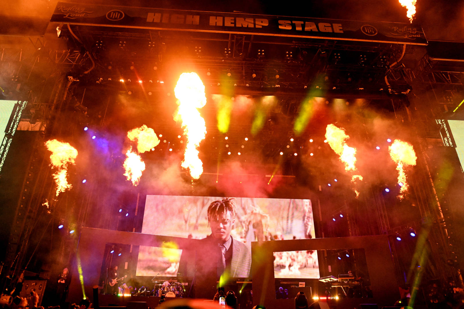 Rolling Loud pays tribute to the late rapper Juice WRLD onstage during day 2 of the Rolling Loud Festival at Banc of California Stadium on December 15, 2019 in Los Angeles, California.