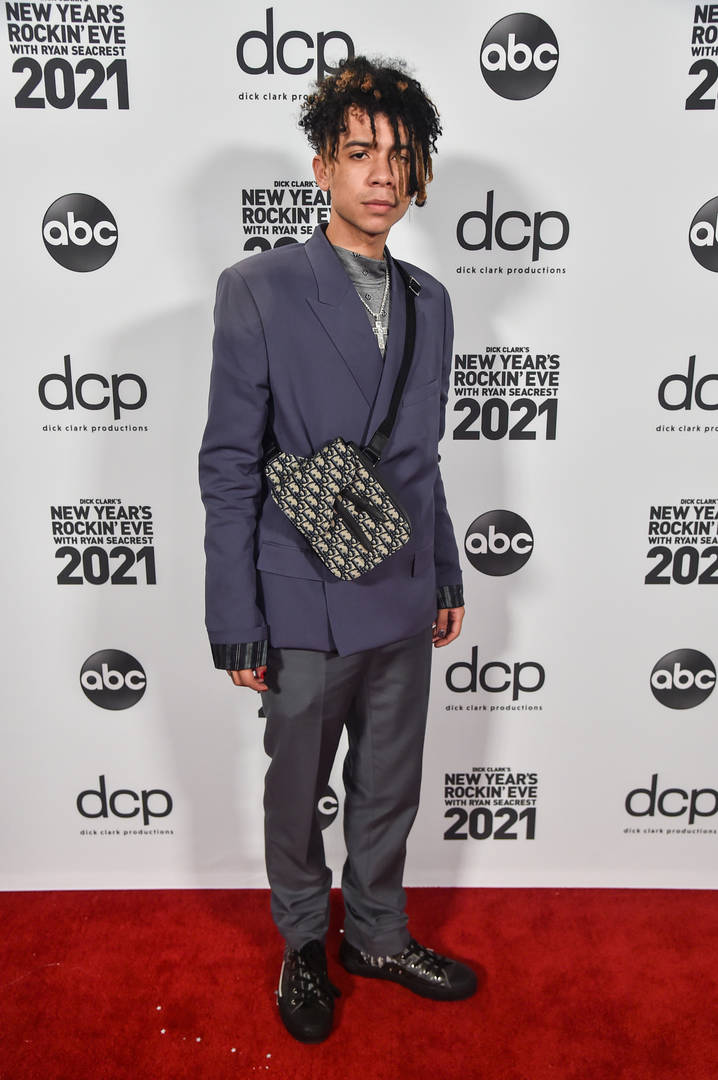 In this image released on December 31, Iann Dior arrives at Dick Clark's New Year's Rockin' Eve with Ryan Seacrest 2021 broadcast on December 31, 2020 and January 1, 2021.