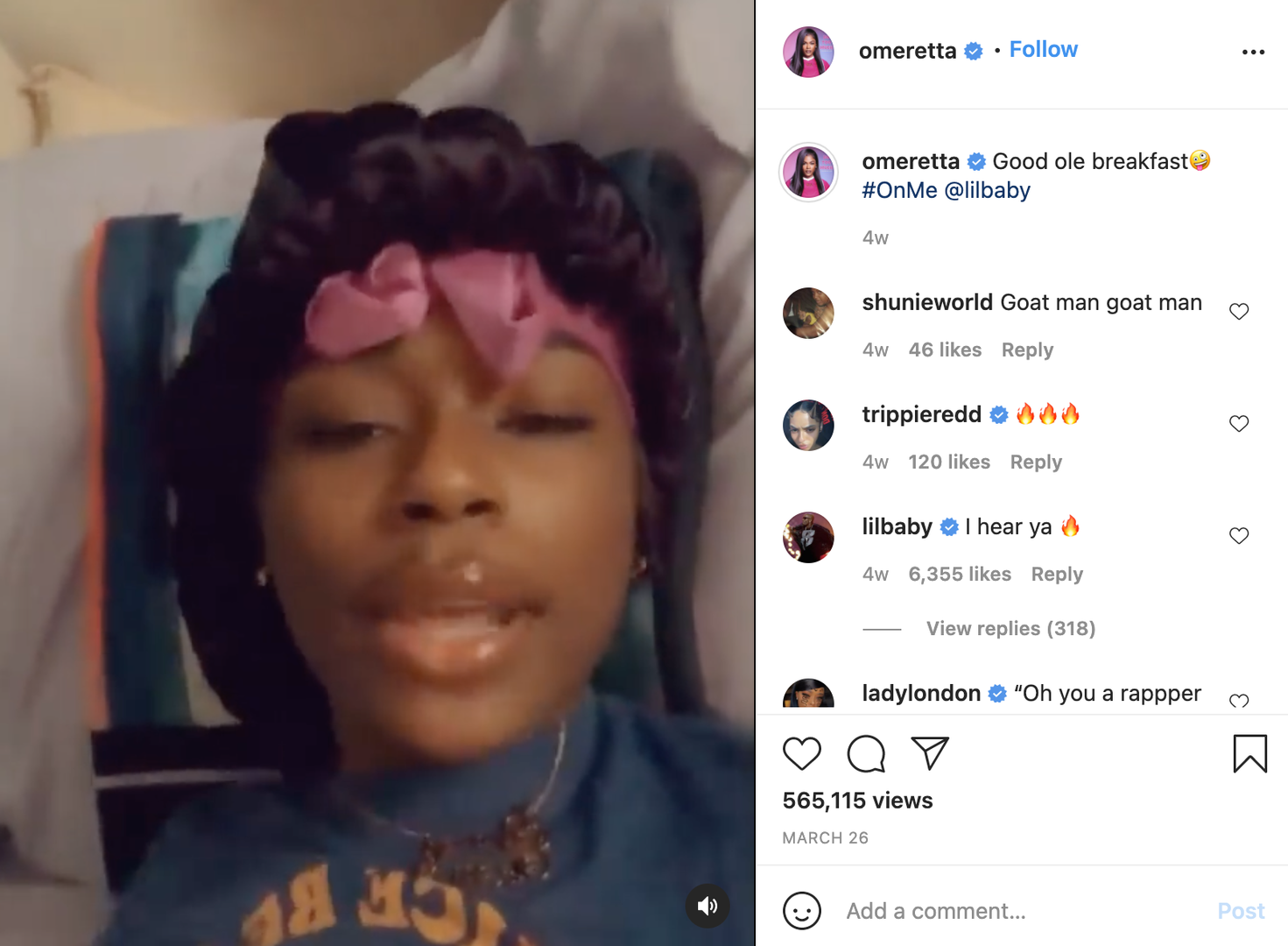 """Screenshot of Omeretta's """"On Me"""" Instagram freestyle"""