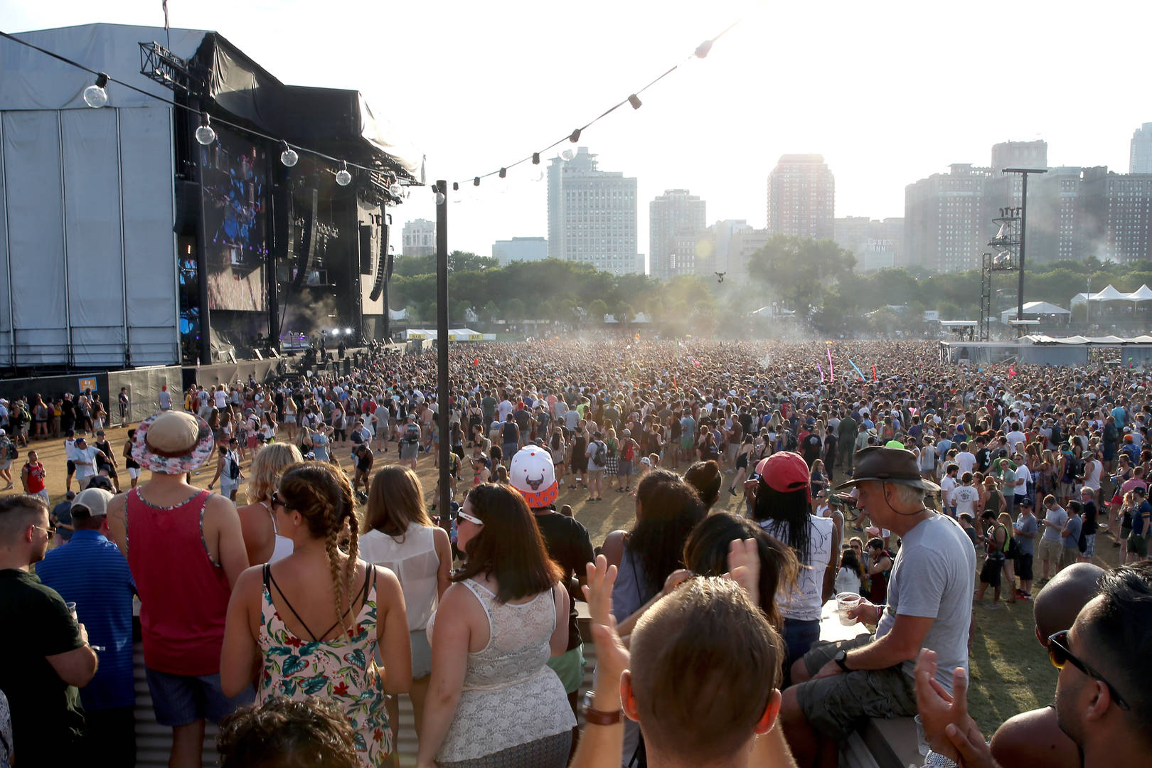 A view of the Samsung Stage from the Samsung Galaxy Lounge at Lollapalooza 2016 - Day 4 at Grant Park on July 31, 2016 in Chicago, Illinois.