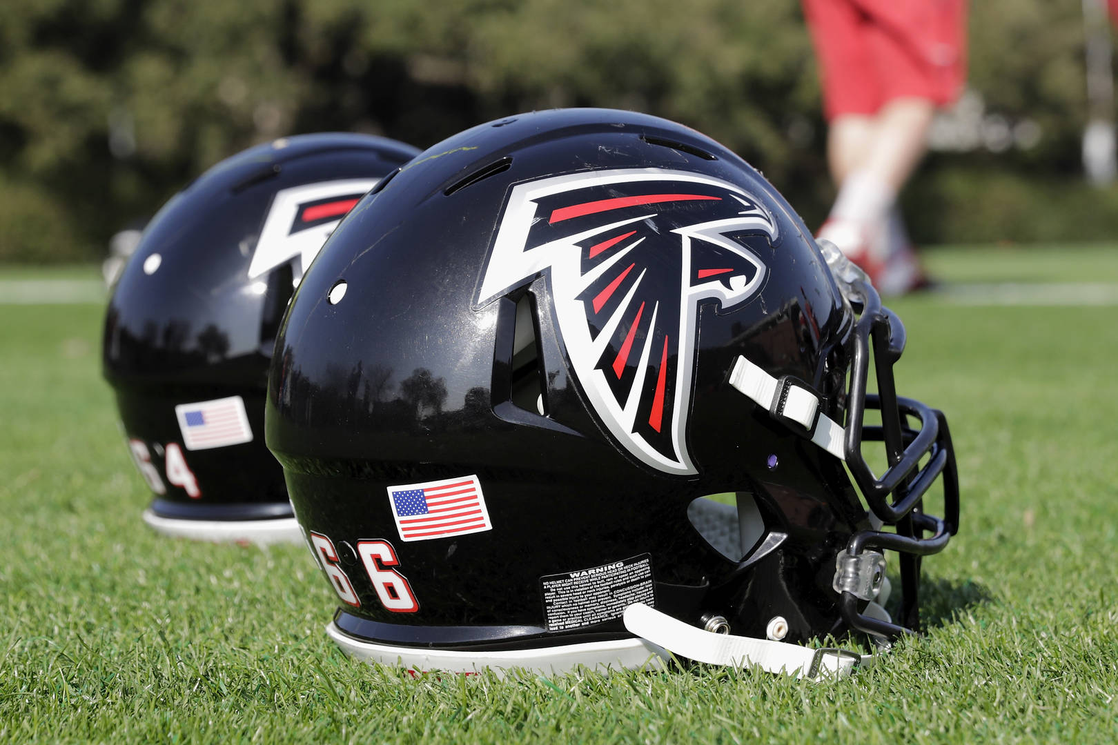 Atlanta Falcons helmets on the field during the Super Bowl LI practice on February 2, 2017 in Houston, Texas